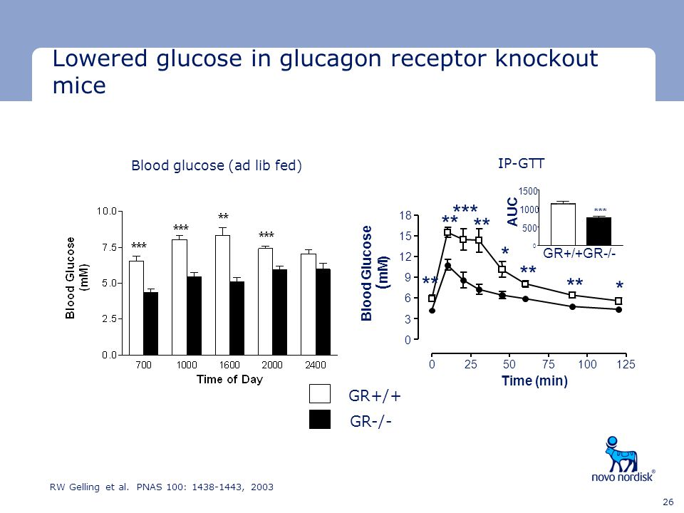 Lowered glucose in glucagon receptor knockout mice