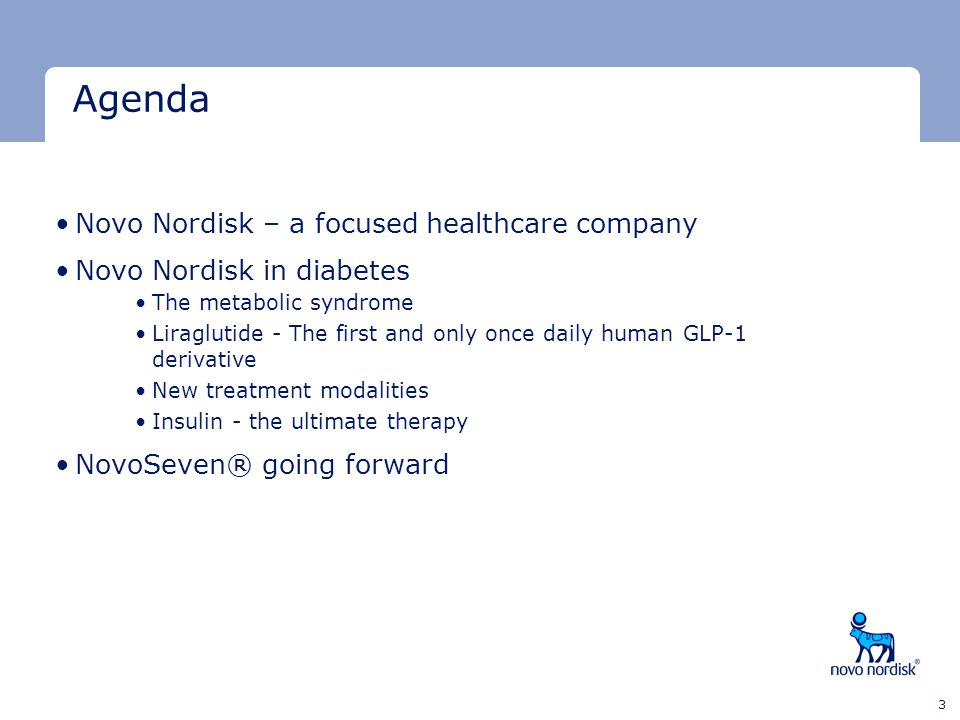 Agenda Novo Nordisk – a focused healthcare company