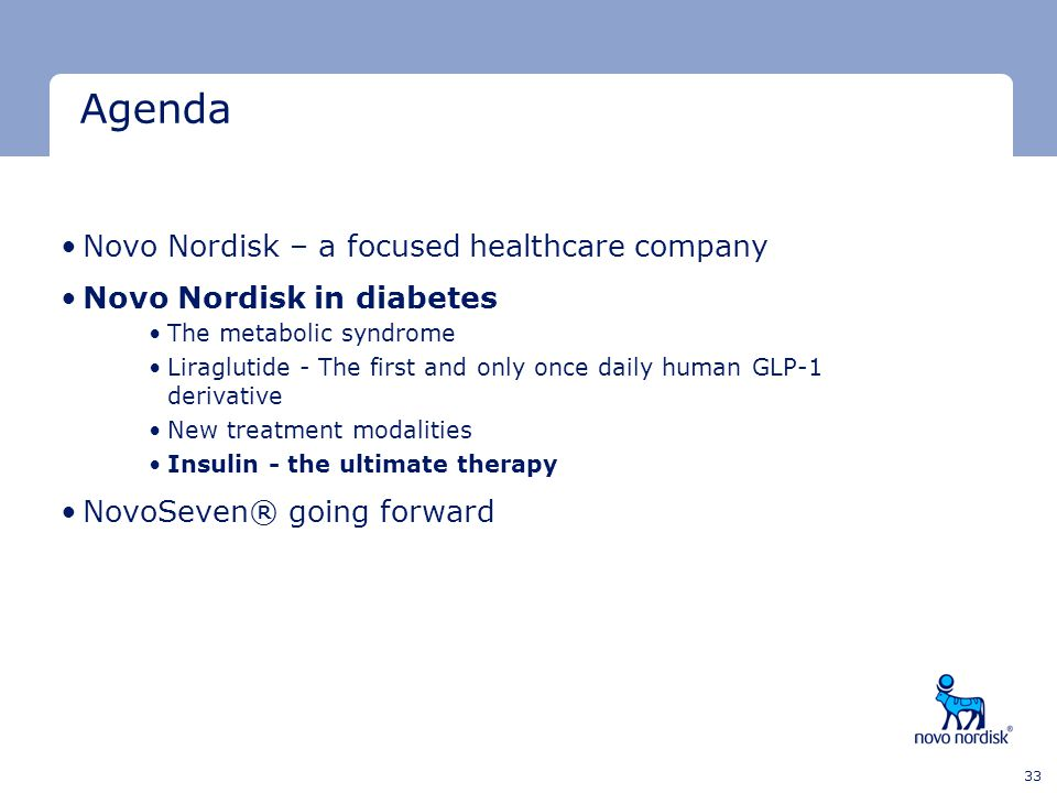 Agenda Novo Nordisk – a focused healthcare company
