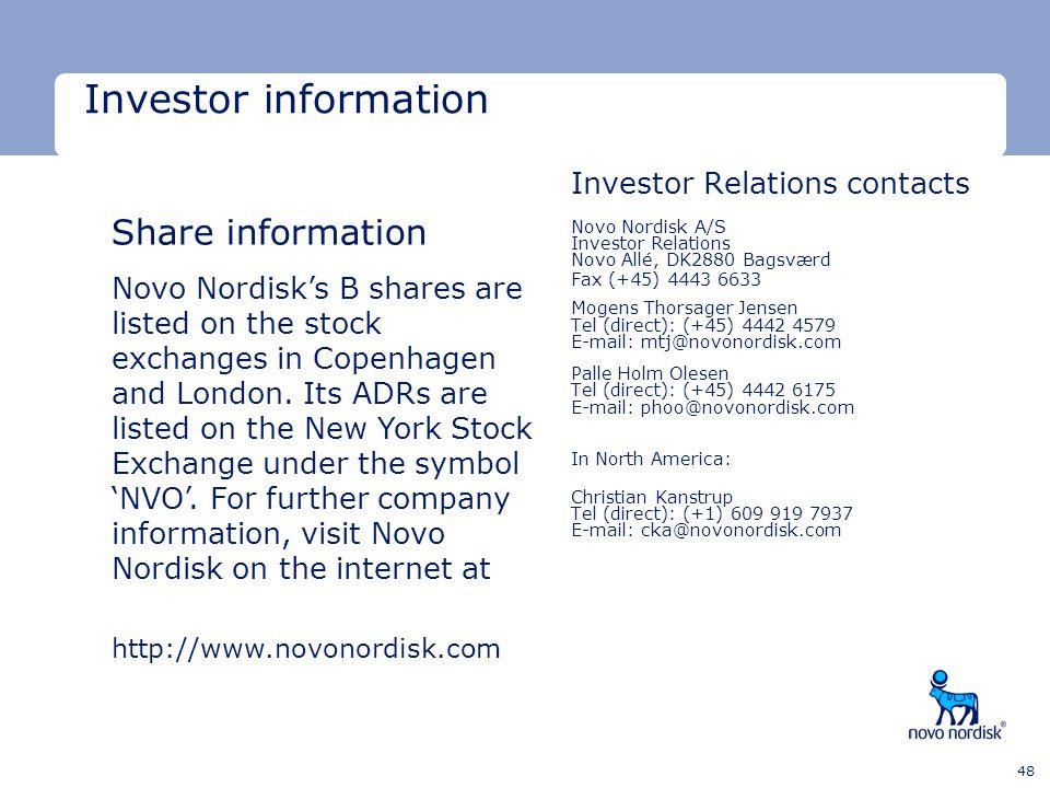 Investor information Investor Relations contacts Novo Nordisk A/S Investor Relations Novo Allé, DK2880 Bagsværd.