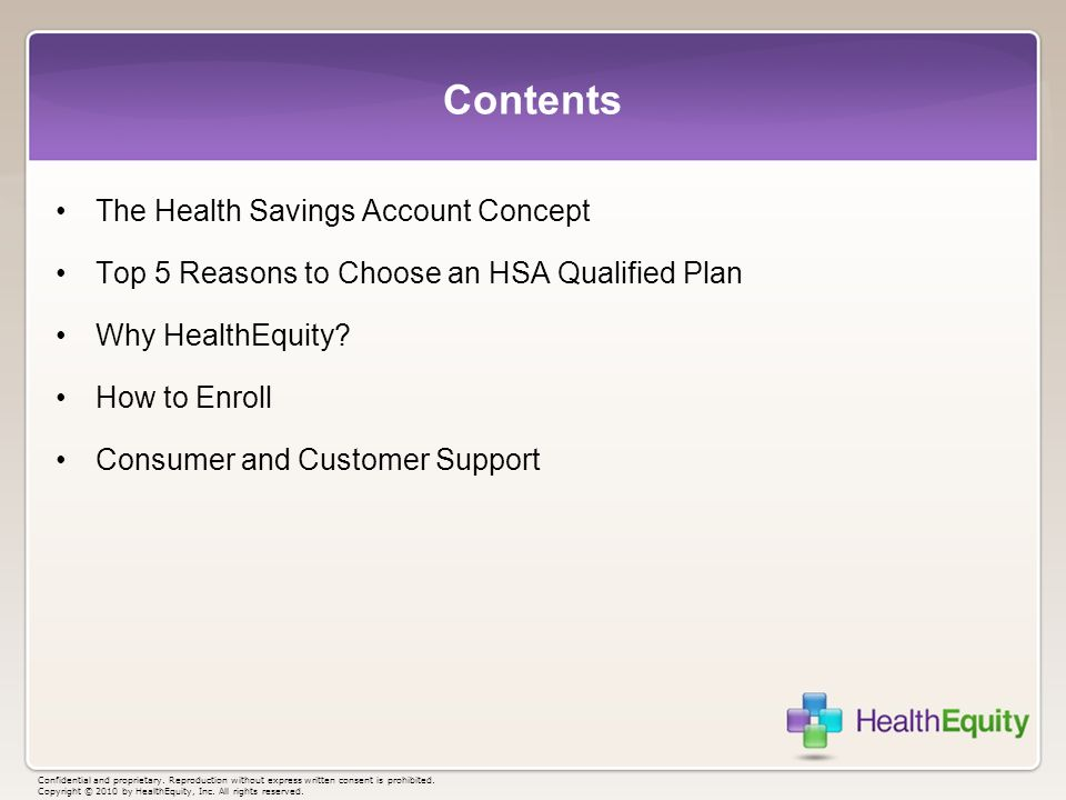 Contents The Health Savings Account Concept