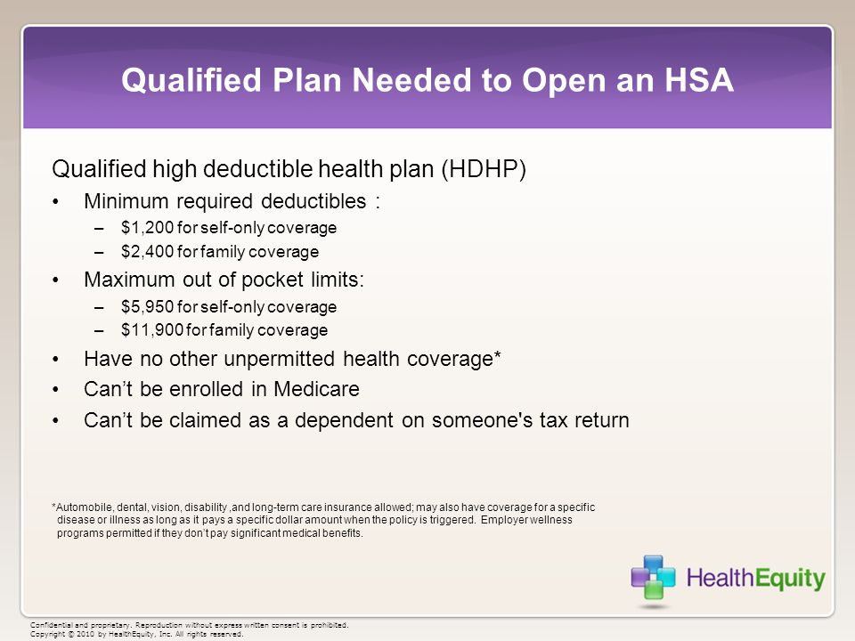 Qualified Plan Needed to Open an HSA