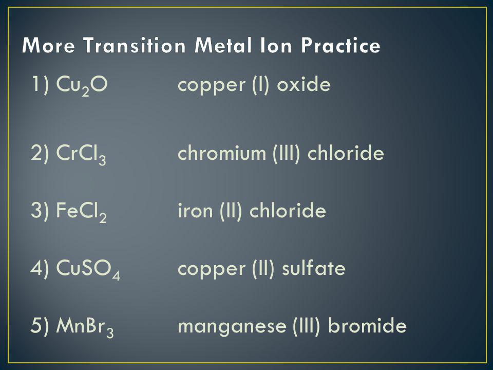 More Transition Metal Ion Practice