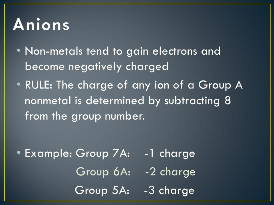 Anions Non-metals tend to gain electrons and become negatively charged