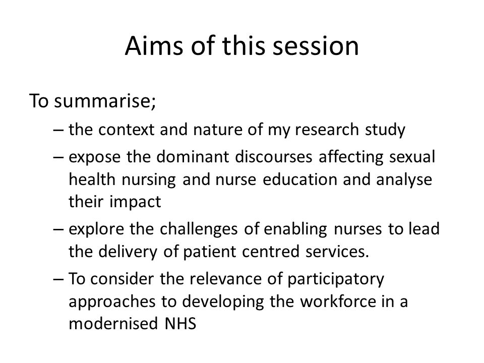 Aims of this session To summarise;