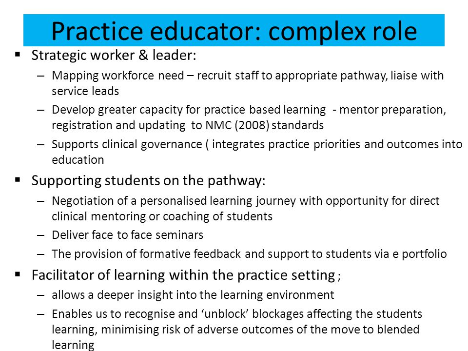 Practice educator: complex role