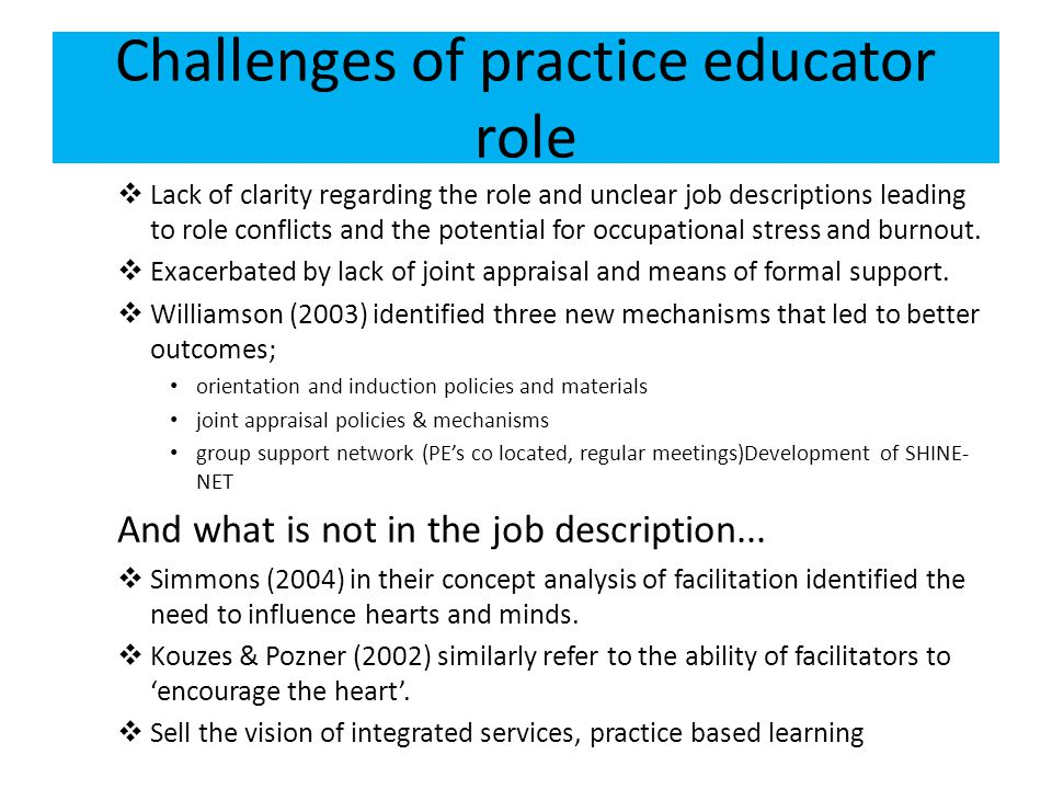Challenges of practice educator role