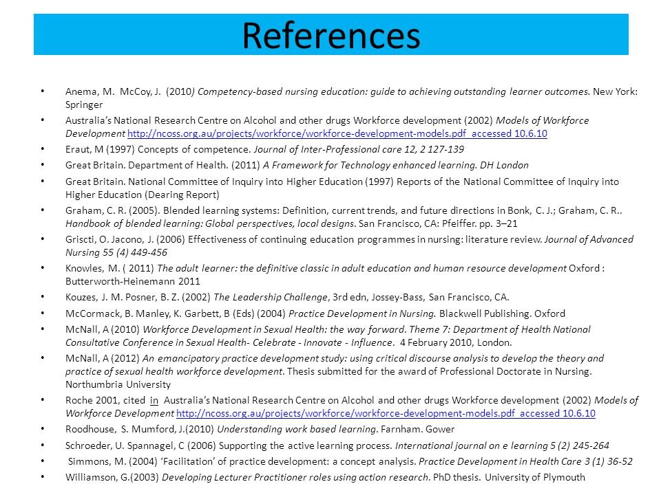 References Anema, M. McCoy, J. (2010) Competency-based nursing education: guide to achieving outstanding learner outcomes. New York: Springer.