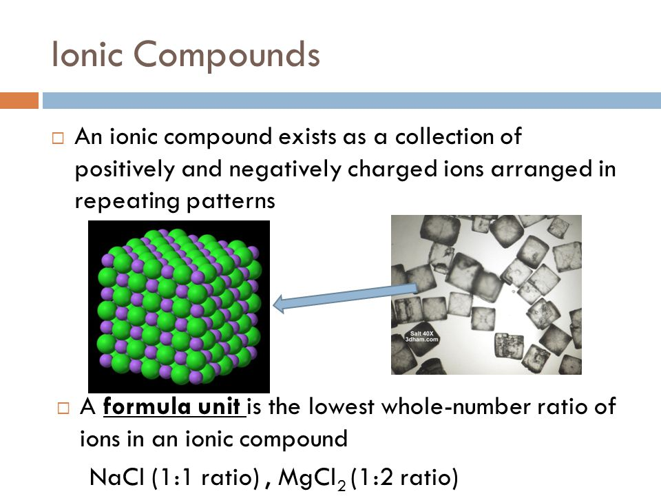 Ionic Compounds An ionic compound exists as a collection of positively and negatively charged ions arranged in repeating patterns.