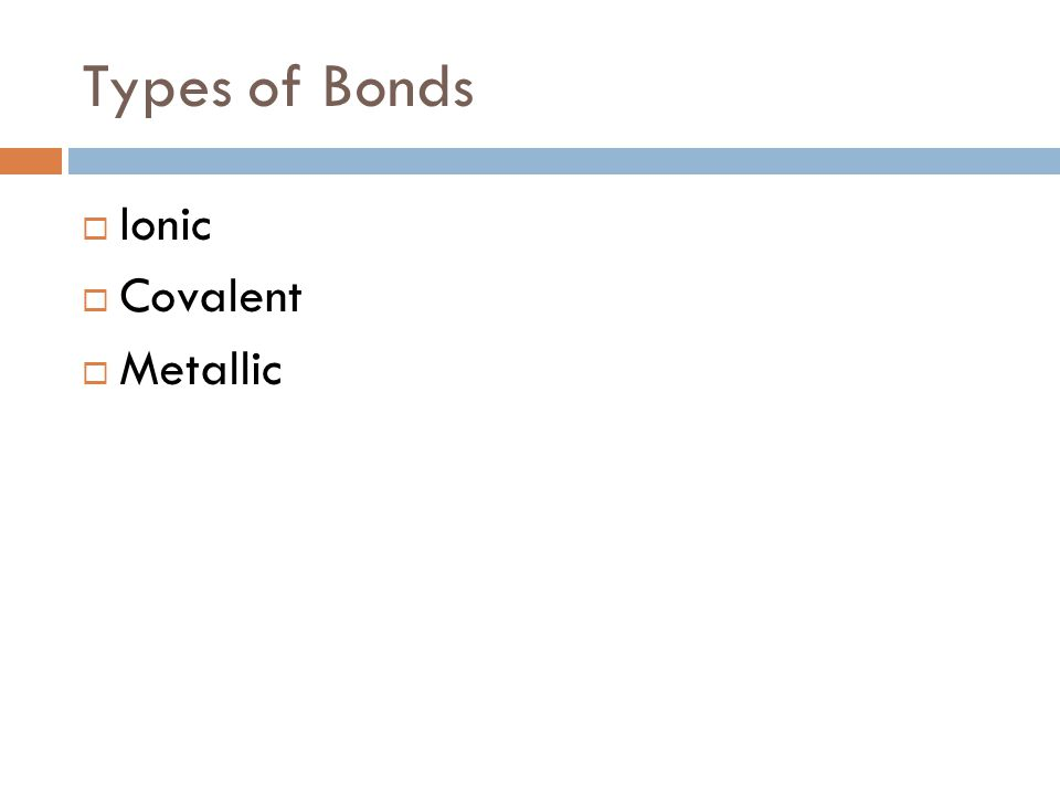 Types of Bonds Ionic Covalent Metallic