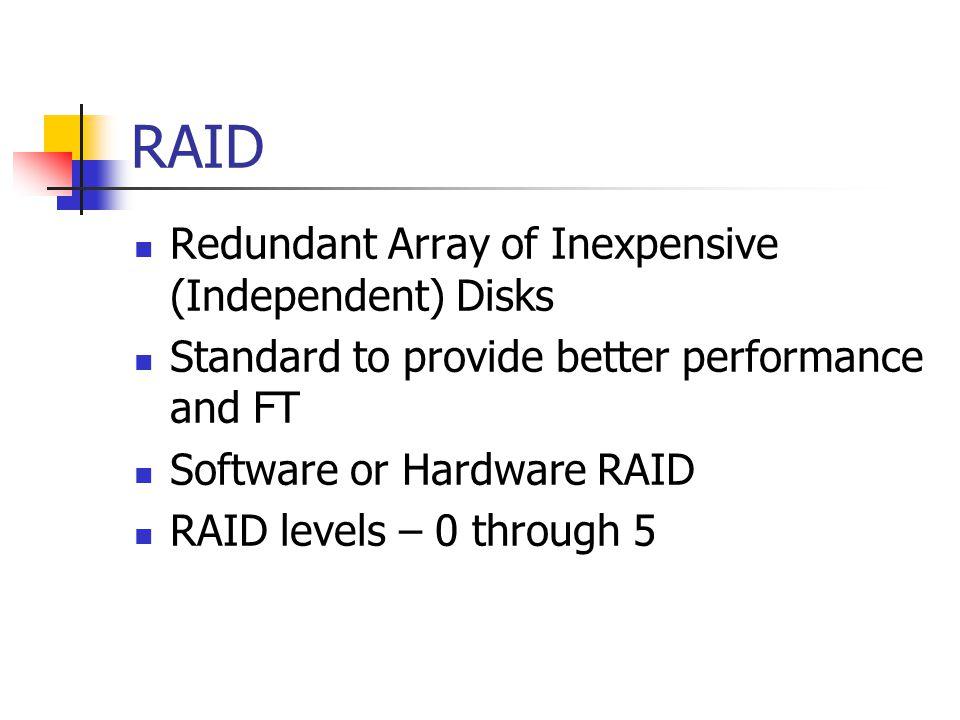 RAID Redundant Array of Inexpensive (Independent) Disks
