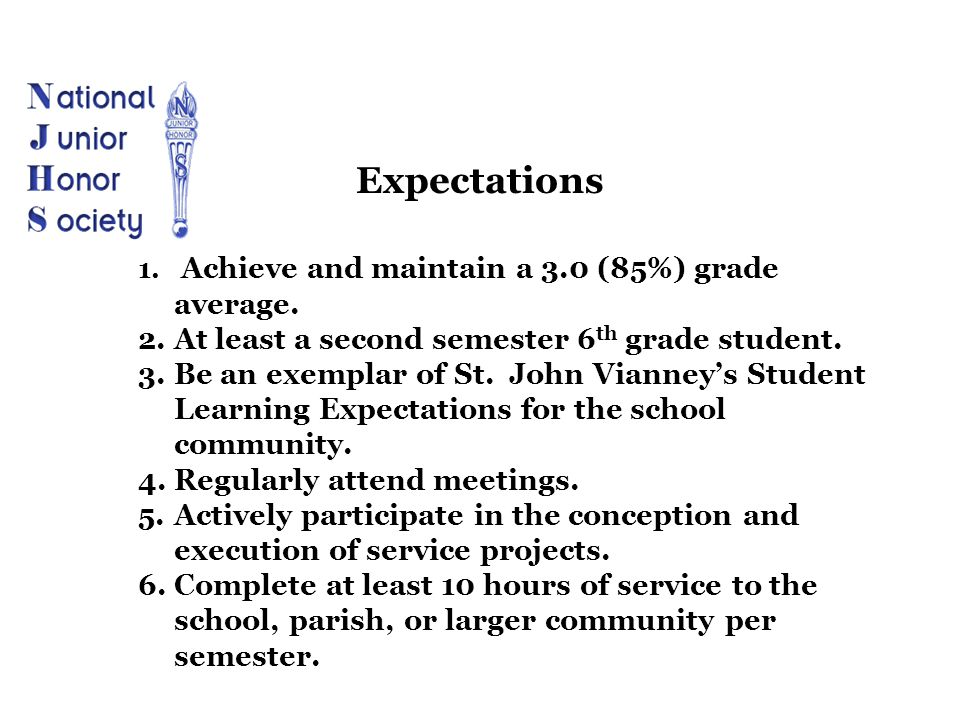 Expectations At least a second semester 6th grade student.