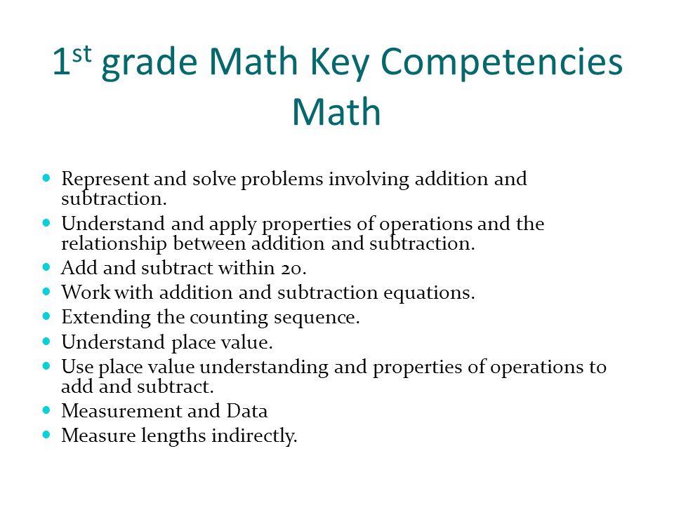 1st grade Math Key Competencies Math