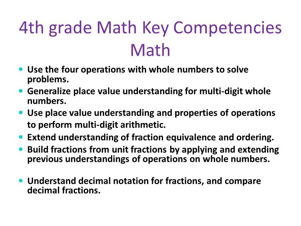 4th grade Math Key Competencies Math