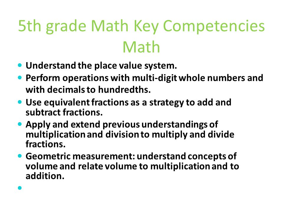 5th grade Math Key Competencies Math