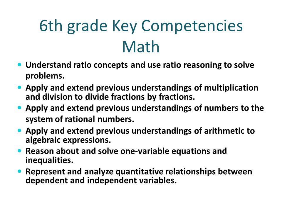 6th grade Key Competencies Math