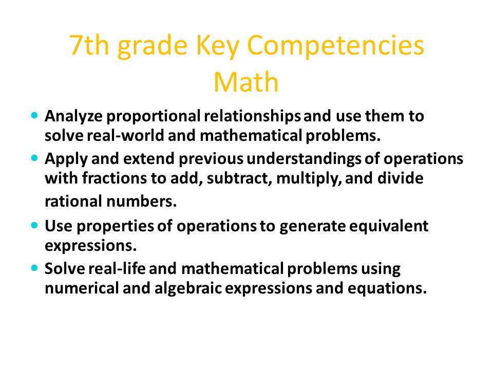 7th grade Key Competencies Math