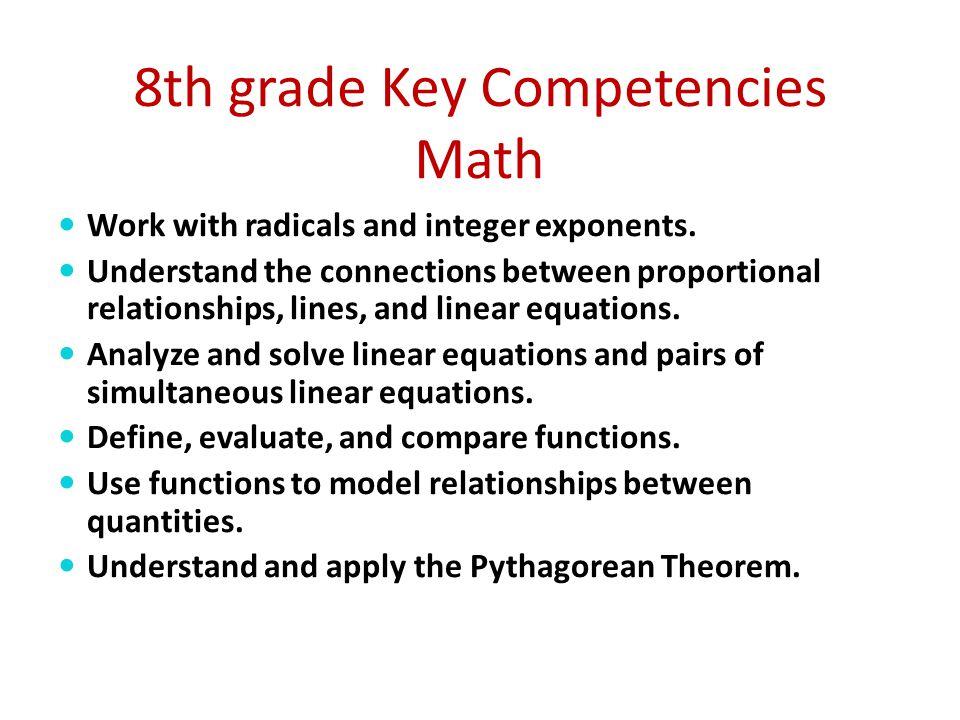 8th grade Key Competencies Math