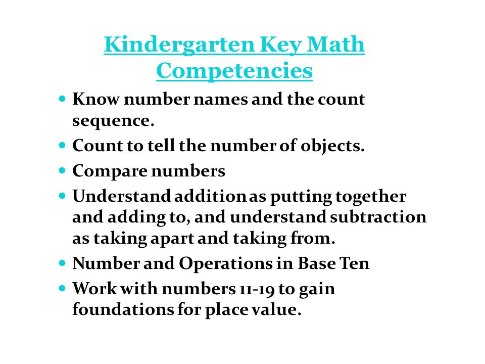 Kindergarten Key Math Competencies