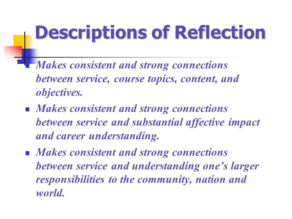 Descriptions of Reflection