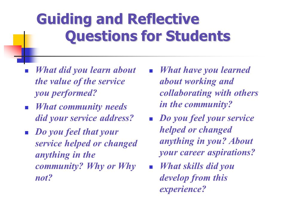 Guiding and Reflective Questions for Students