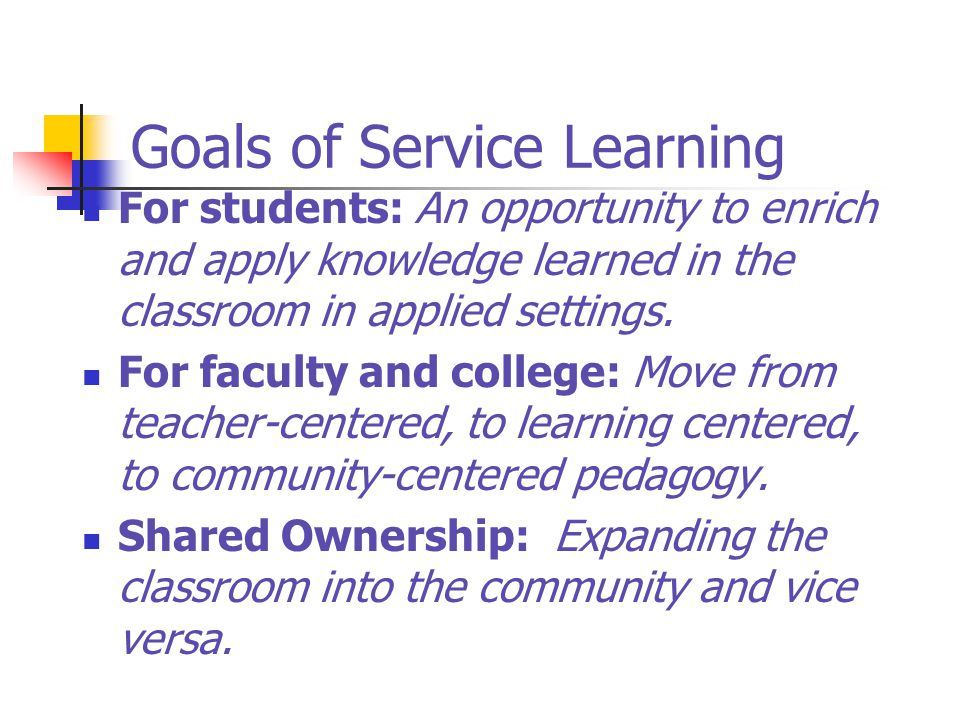Goals of Service Learning
