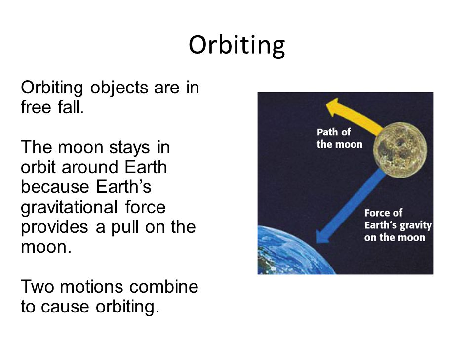 Orbiting Orbiting objects are in free fall.