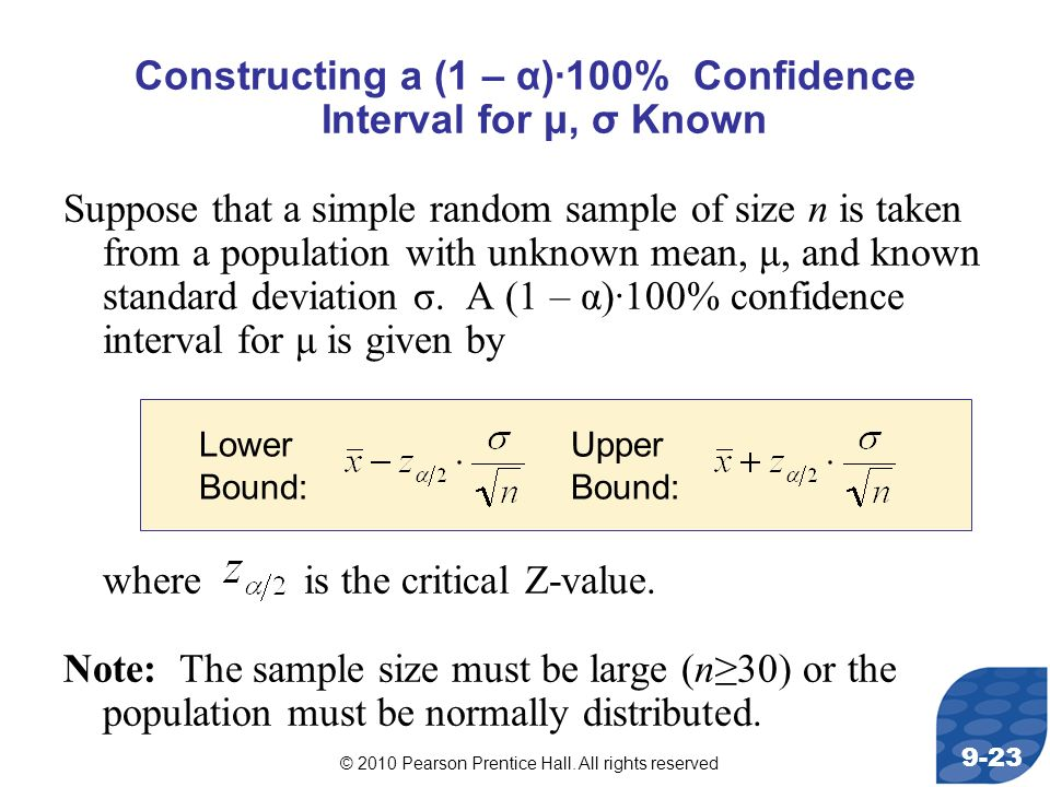 Constructing a (1 – α)·100% Confidence Interval for μ, σ Known