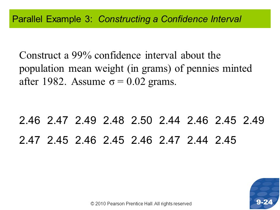Parallel Example 3: Constructing a Confidence Interval