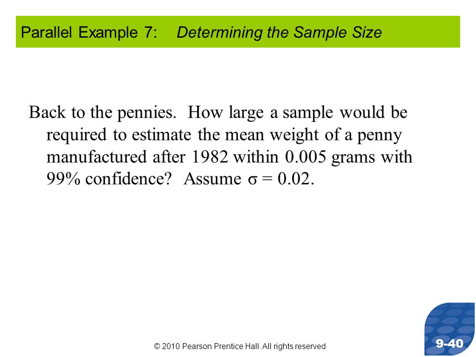 Parallel Example 7: Determining the Sample Size