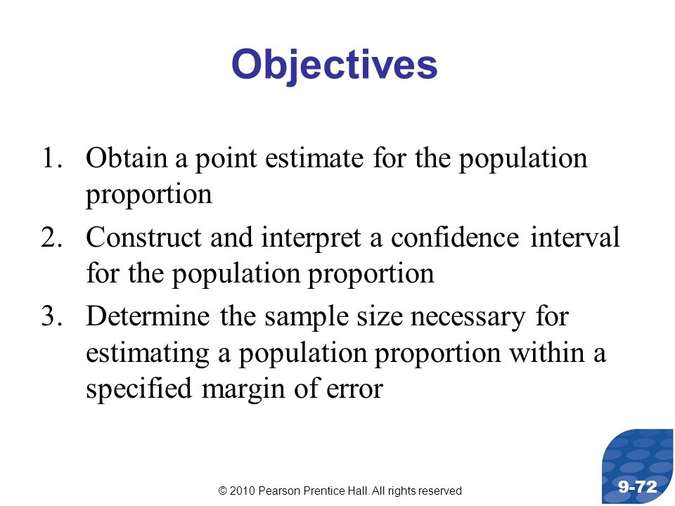 Objectives Obtain a point estimate for the population proportion
