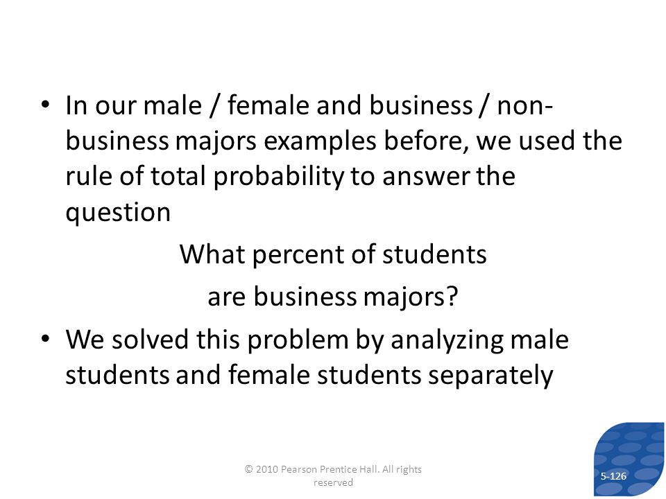 What percent of students are business majors