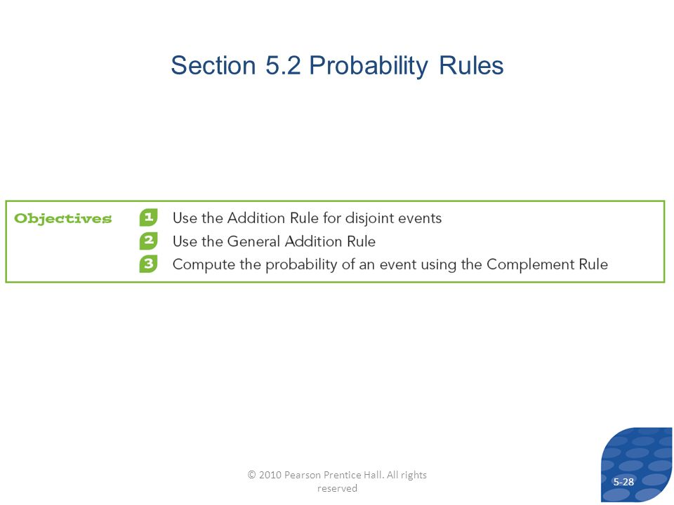 Section 5.2 Probability Rules