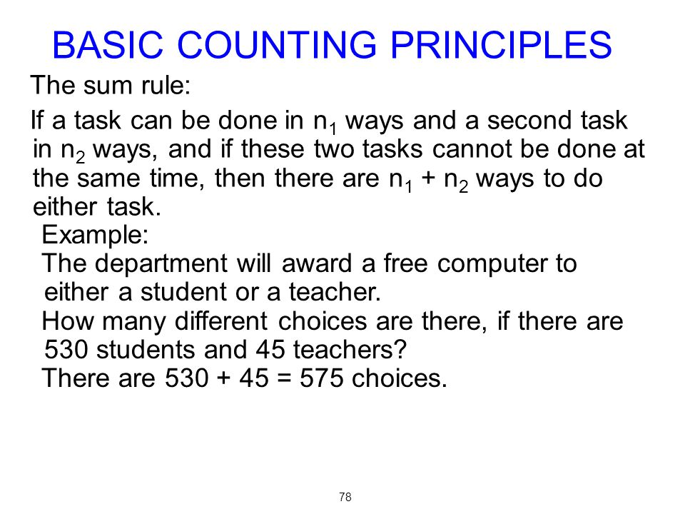 BASIC COUNTING PRINCIPLES