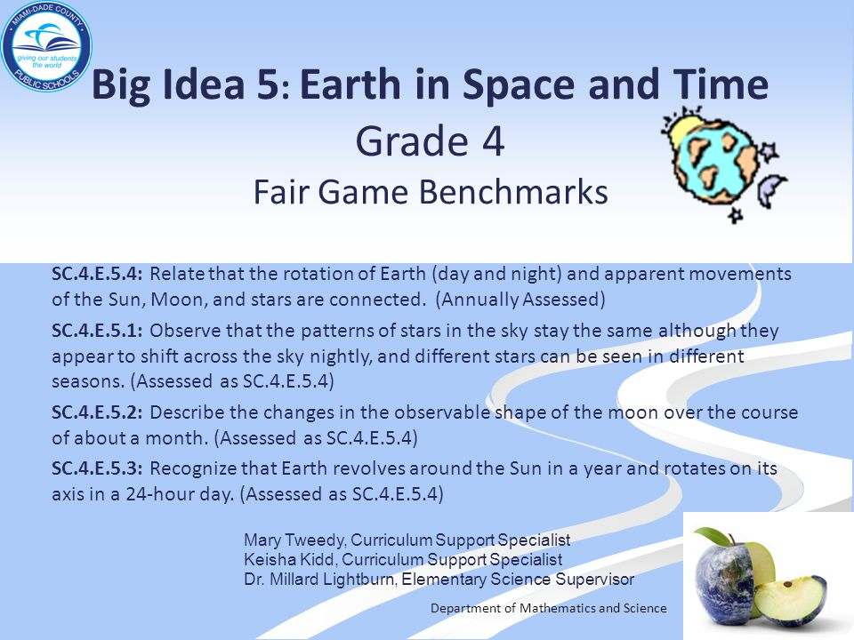 Big Idea 5: Earth in Space and Time Grade 4 Fair Game Benchmarks