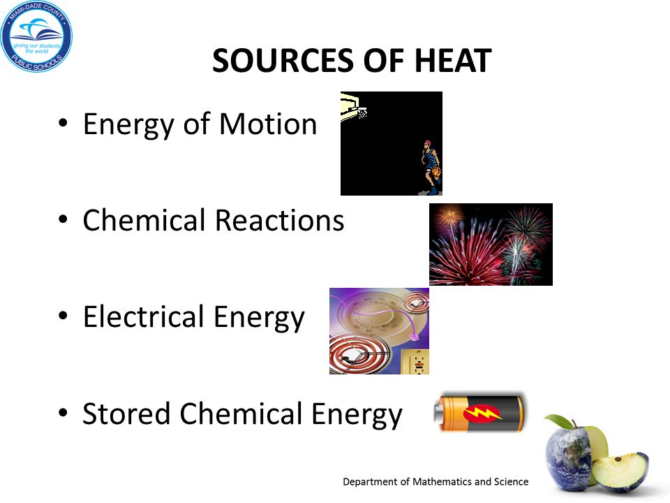 Sources of HEAT Energy of Motion Chemical Reactions Electrical Energy
