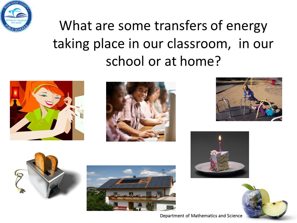 What are some transfers of energy taking place in our classroom, in our school or at home