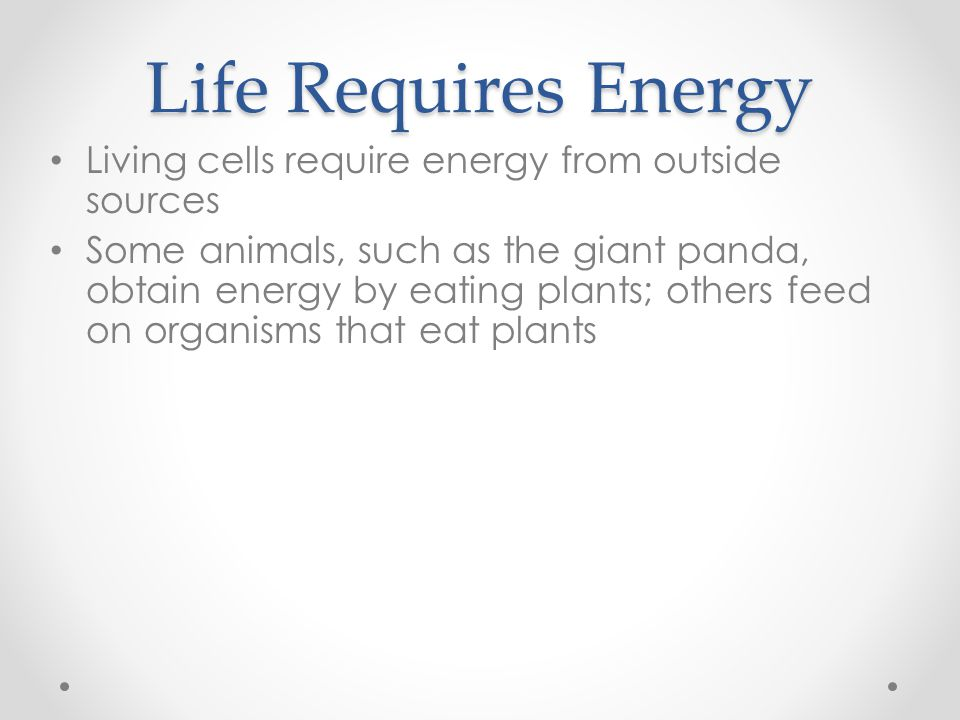Life Requires Energy Living cells require energy from outside sources