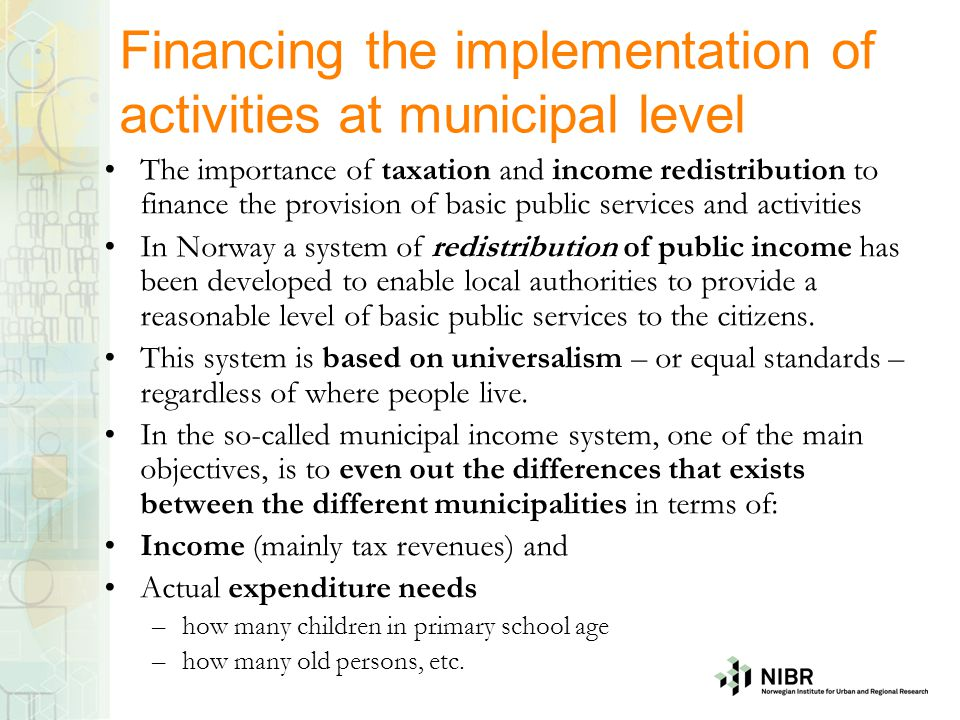 Financing the implementation of activities at municipal level