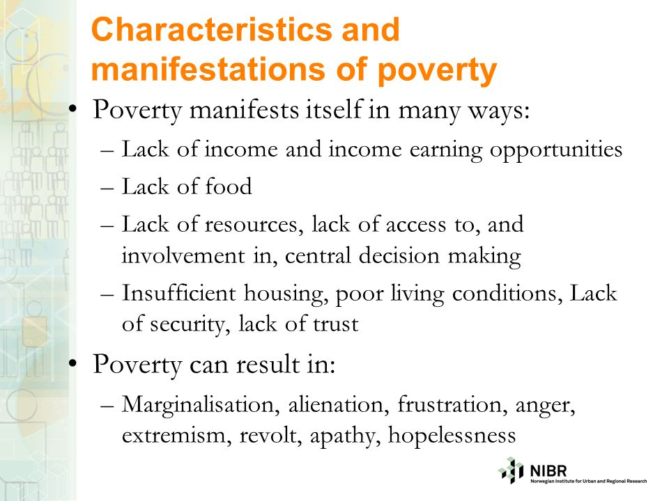 Characteristics and manifestations of poverty