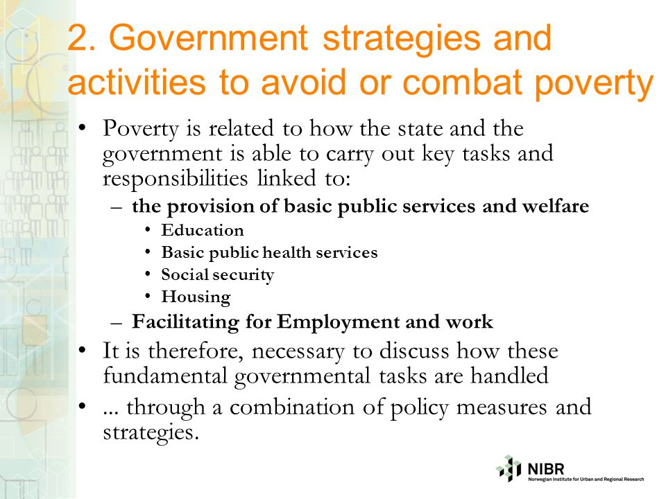 2. Government strategies and activities to avoid or combat poverty