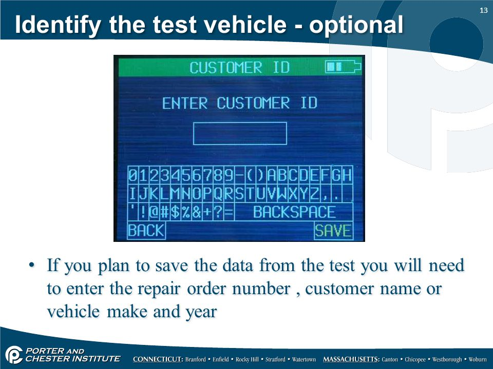 Identify the test vehicle - optional