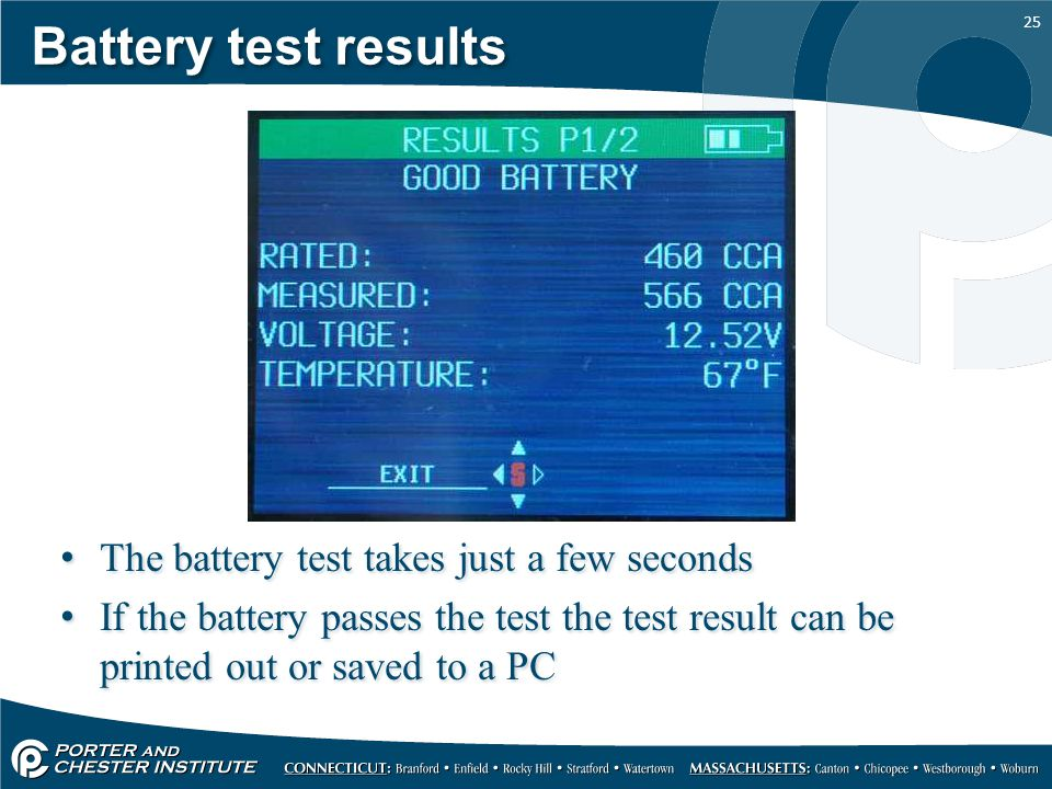Battery test results The battery test takes just a few seconds