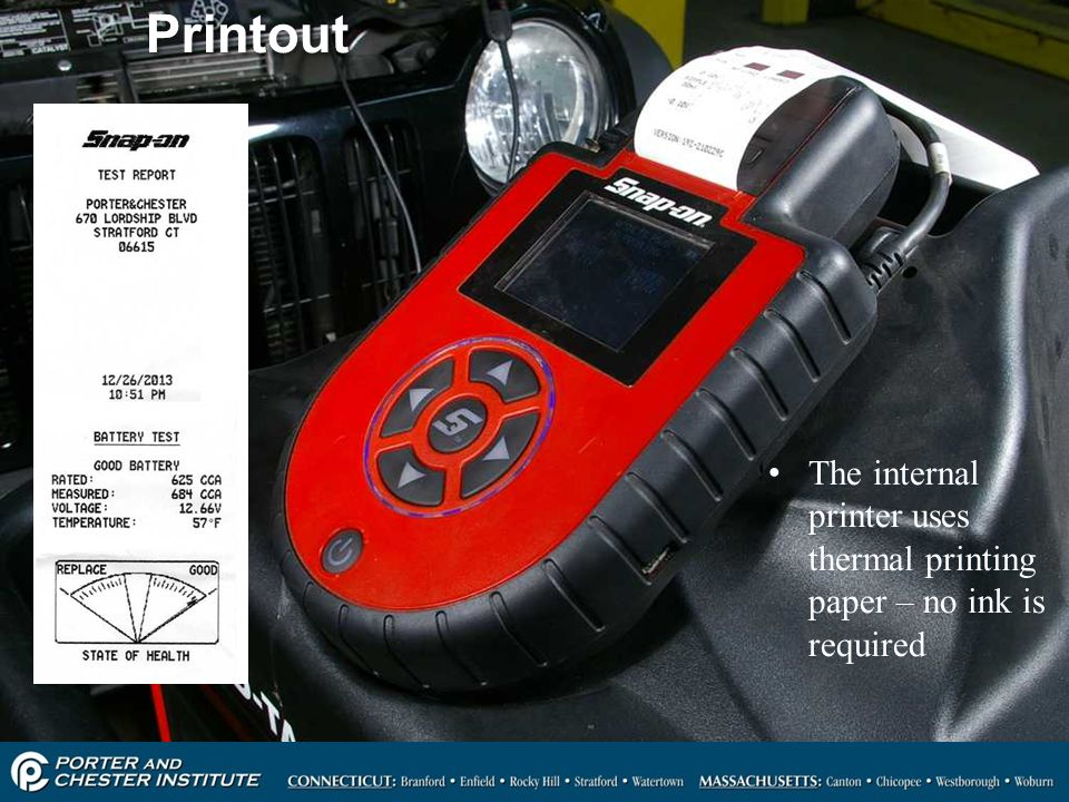 Printout The internal printer uses thermal printing paper – no ink is required