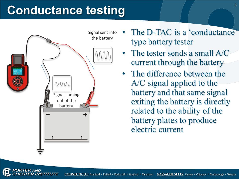 Conductance testing The D-TAC is a 'conductance' type battery tester