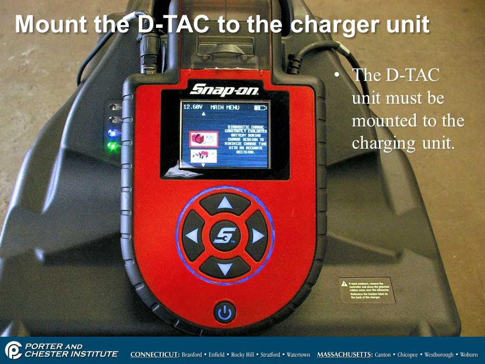 Mount the D-TAC to the charger unit