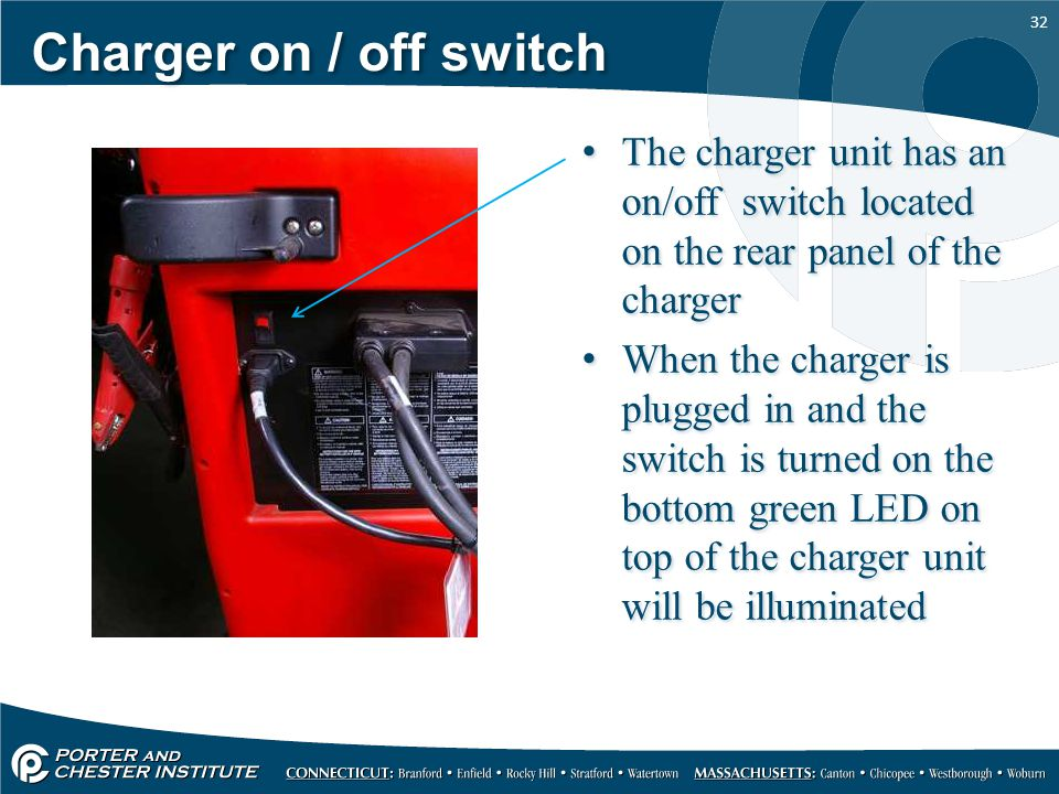 Charger on / off switch The charger unit has an on/off switch located on the rear panel of the charger.