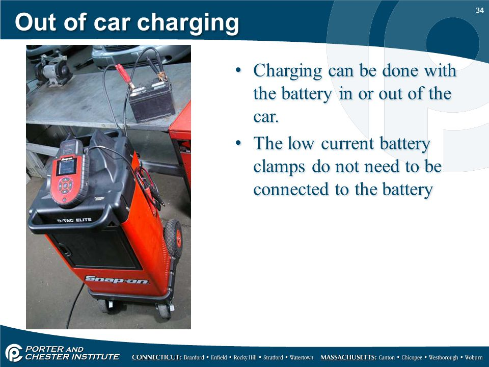Out of car charging Charging can be done with the battery in or out of the car.