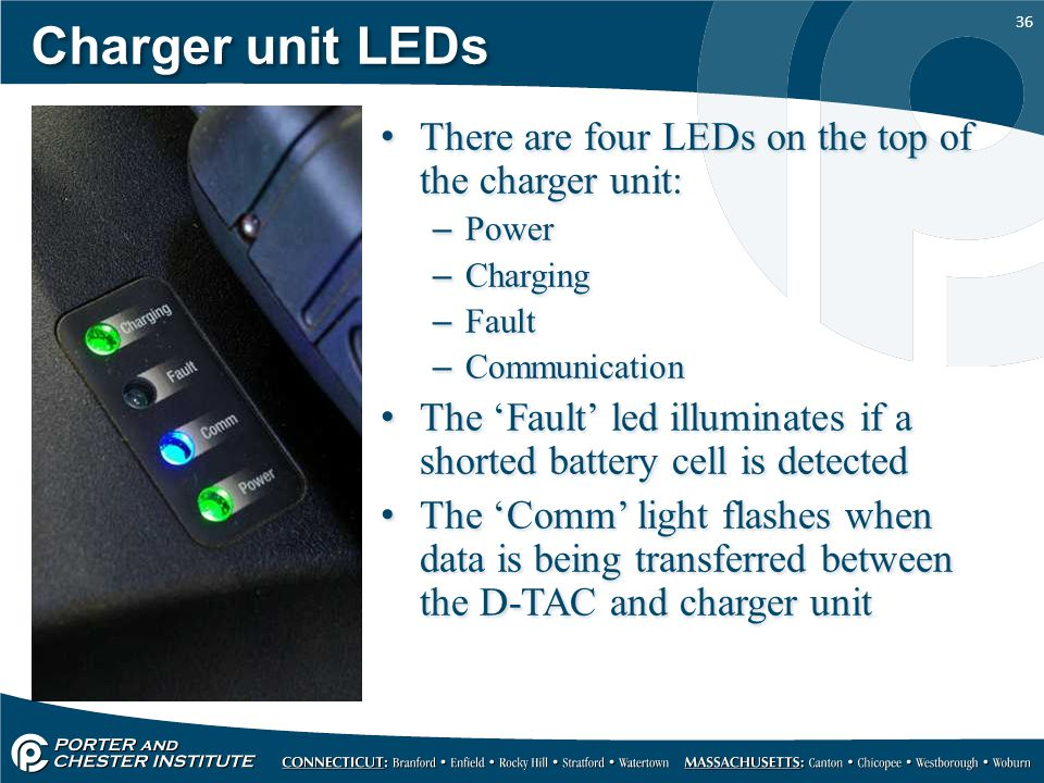 Charger unit LEDs There are four LEDs on the top of the charger unit: