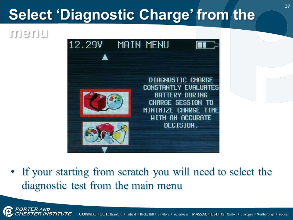 Select 'Diagnostic Charge' from the menu